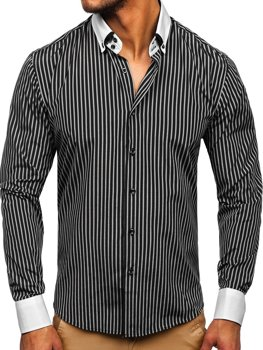 Черная мужская элегантная рубашка в полоску с длинным рукавом Bolf 0909