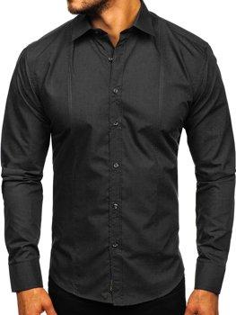 Черная мужская элегантная рубашка с длинным рукавом Bolf 4705G