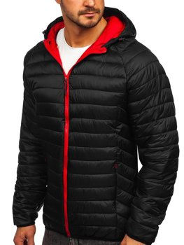 Черная стеганая демисезонная мужская куртка с капюшоном Bolf 13022