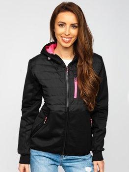Черная стеганая женская демисезонная куртка с капюшоном Bolf KSW4013