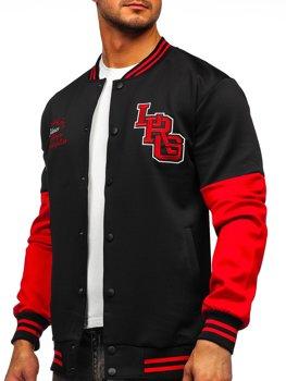 Черная толстовка-куртка мужская тонкая бейсбольная с принтом Bolf B10158