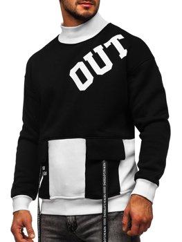 Черно-белая мужская толстовка с принтом без капюшона Bolf 0001