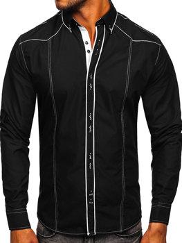 Черно-белая мужская элегантная рубашка с длинным рукавом Bolf 4777