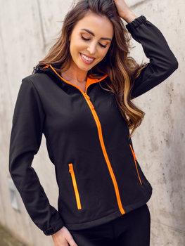 Черно-оранжевая демисезонная женская куртка Софтшелл Bolf HH018