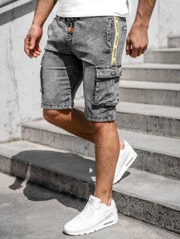 Черные мужские джинсовые шорты-карго Bolf HY855