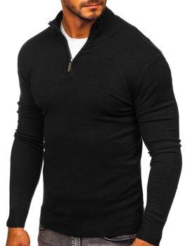 Черный мужской свитер с высоким воротником стойка Bolf YY08