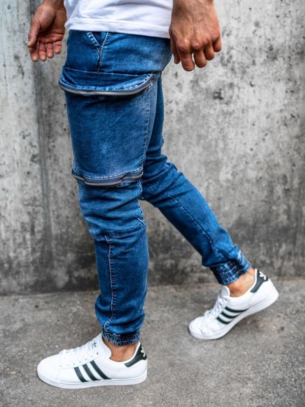 Брюки  джоггеры джинсовые мужские темно-синие Bolf KA365