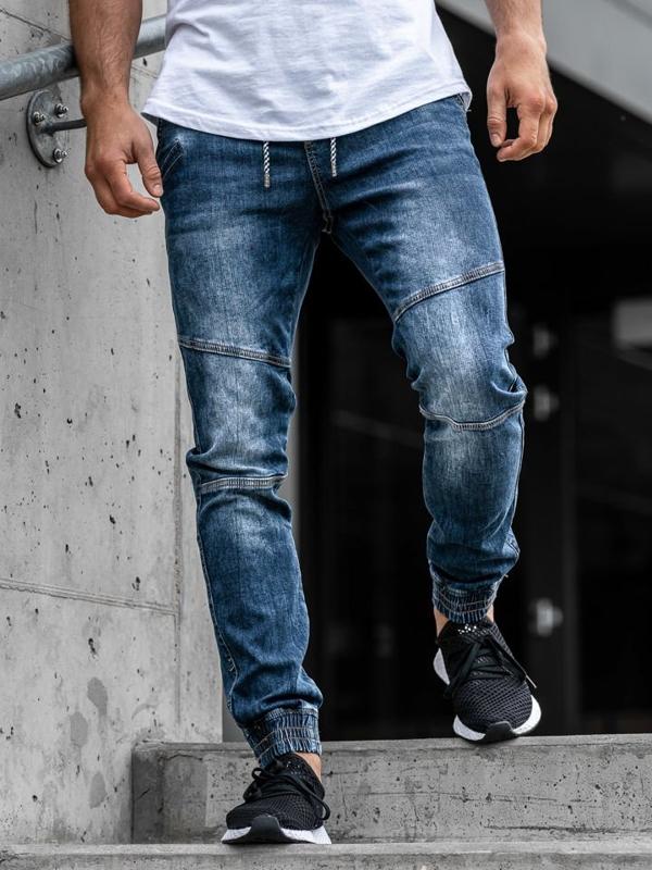 Брюки джоггеры джинсовые мужские темно-синие Bolf KA673