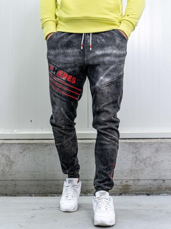 Брюки джоггеры мужские джинсовые черные Bolf kk1068