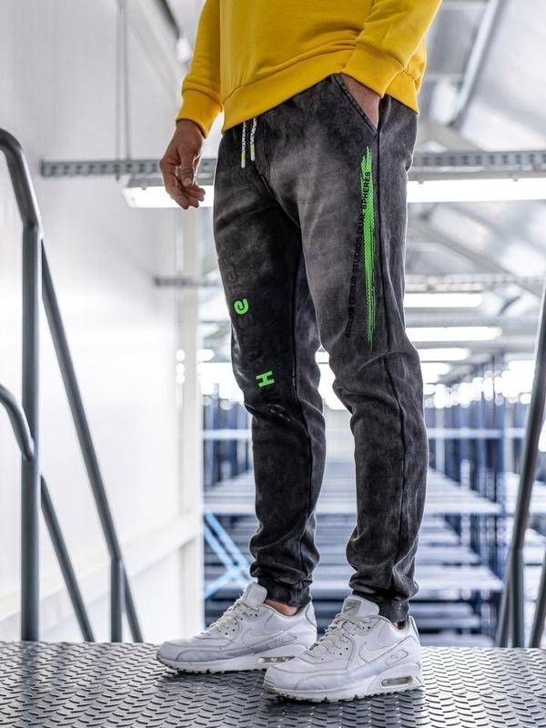 Брюки мужские джинсовые джоггеры черные Bolf kk1067