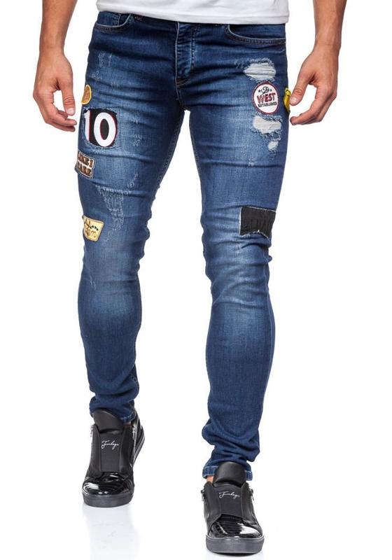 Джинсы мужские skinny fit темно-синие Bolf 298