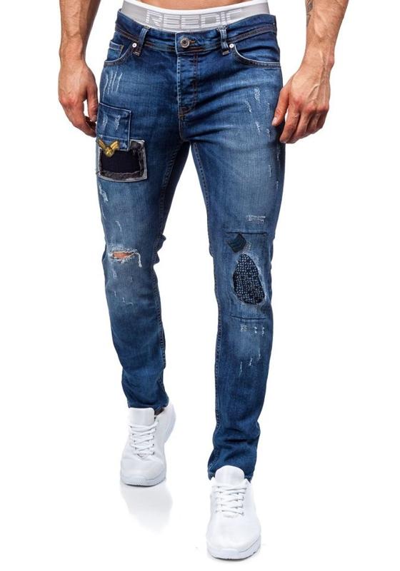 Джинсы мужские slim fit темно-синие Bolf 302
