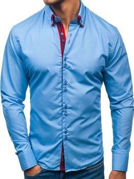 Елегантна чоловіча сорочка з довгим рукавом блакитна Bolf 2785