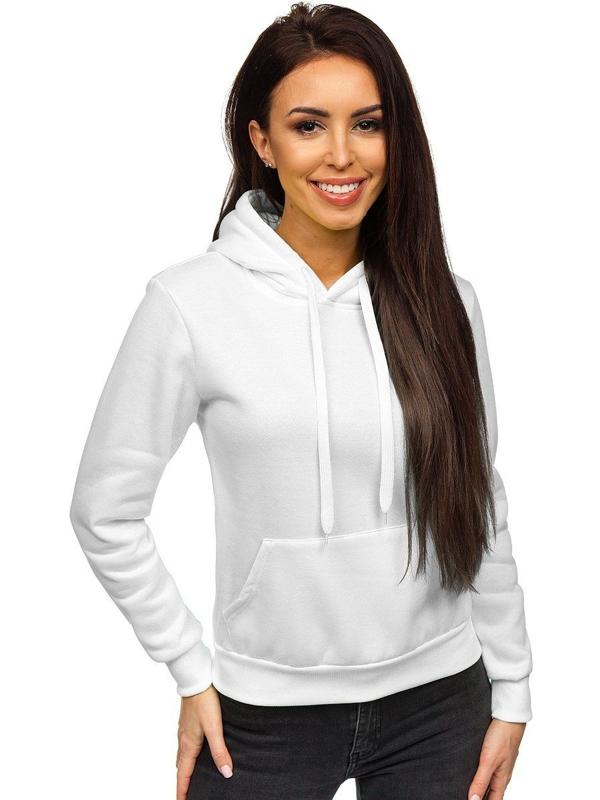 Женская толстовка с капюшоном белая Bolf WB1002
