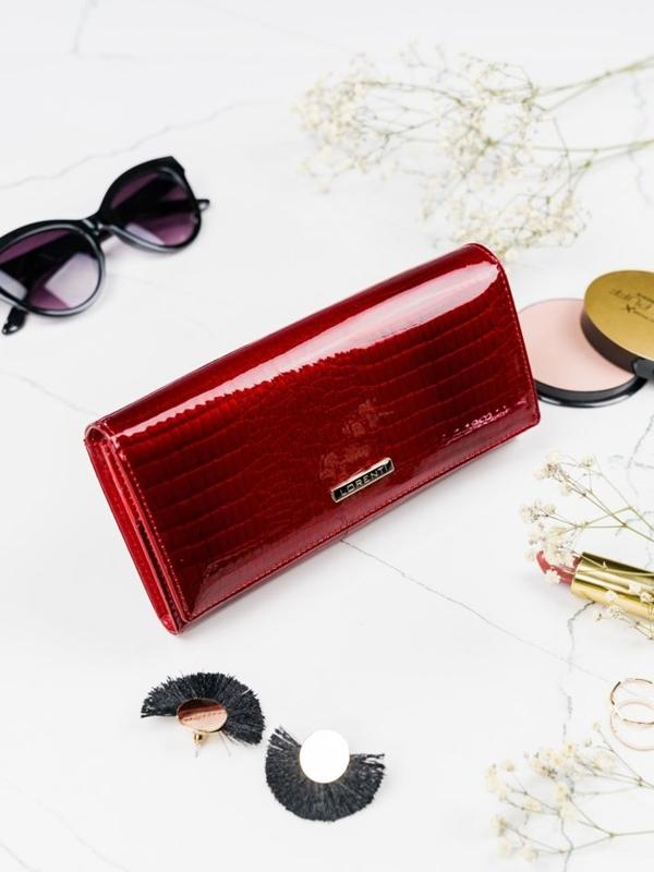 Женский кожаный кошелек красный 2097