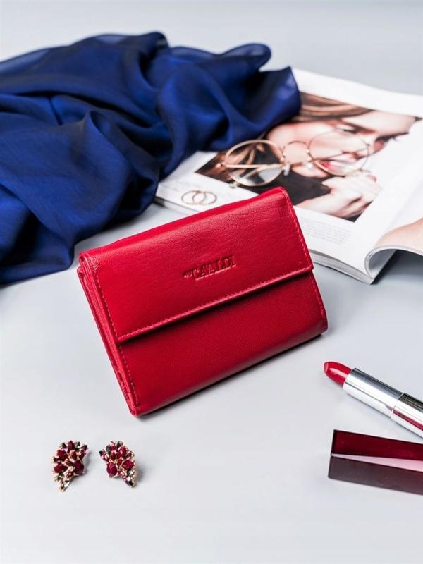 Женский кожаный кошелек красный 2411