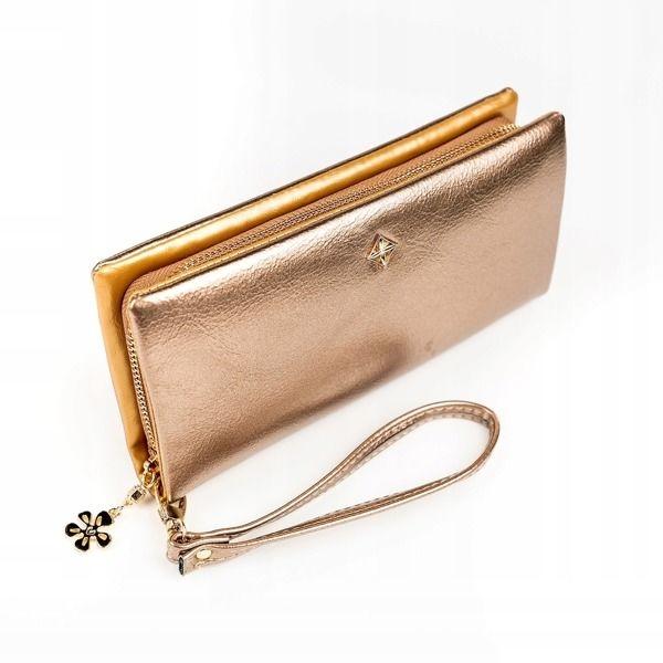 Женский кошелек с эко кожи золотистый 1172