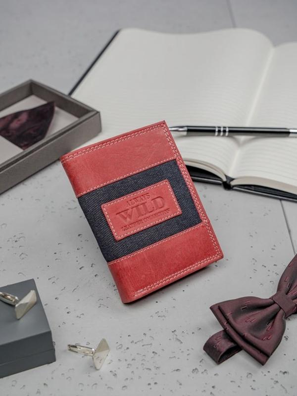 Кошелек мужской кожаный красный 3179