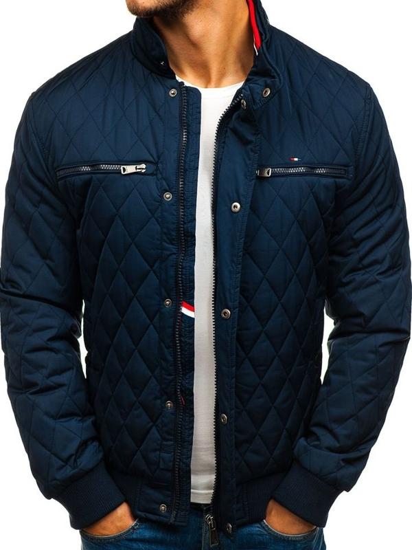 Куртка мужская демисезонная спортивная темно-синяя Bolf 1853