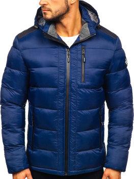 Куртка мужская зимняя спортивная стеганая темно-синяя Bolf AB98