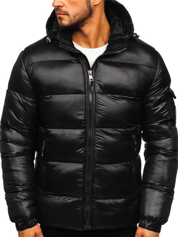 Куртка мужская зимняя спортивная стеганая черная Bolf K65