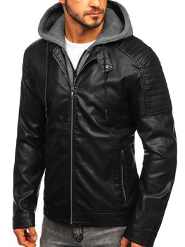 Куртка мужская кожаная с капюшоном черная Bolf 1136