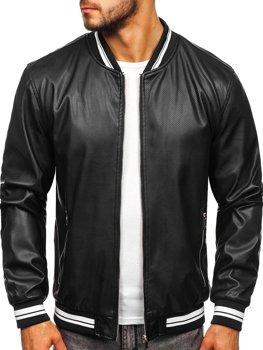 Куртка мужская кожаная черная Bolf 1132