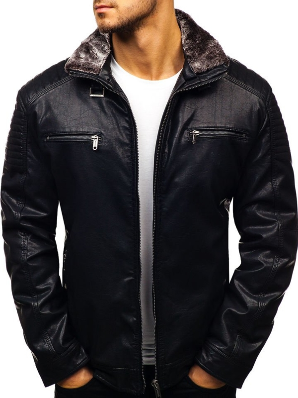 Куртка мужская кожаная черная Bolf EX832