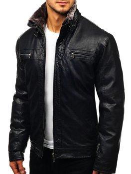 Куртка мужская кожаная черная Bolf EX836