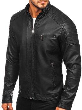Куртка мужская кожаная biker черная Bolf 88903