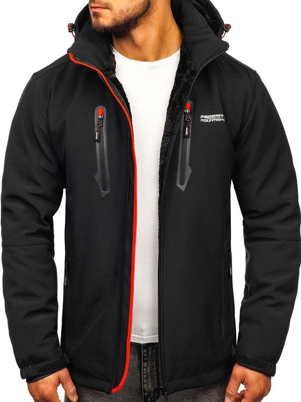 Куртка мужская софтшелл утепленная черно-красного цвета Bolf BK061