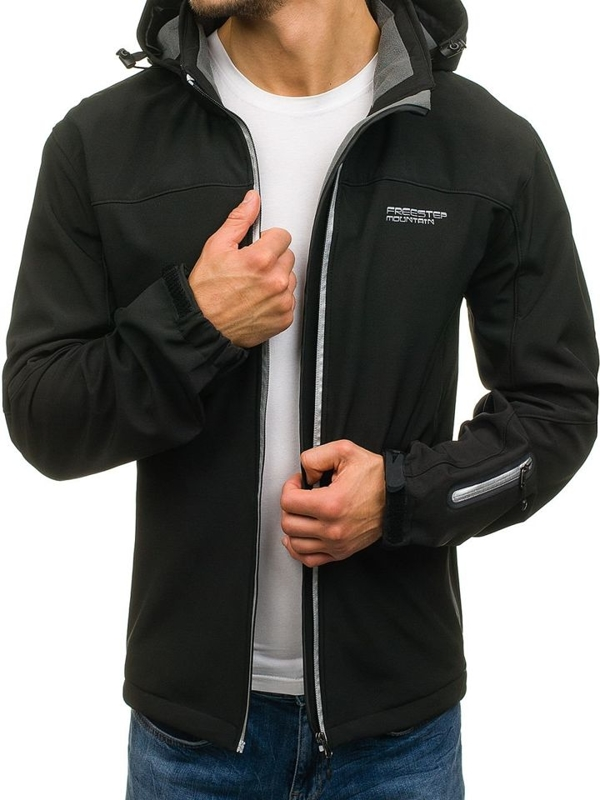 Мужская демисезонная куртка софтшелл черная Bolf 3045