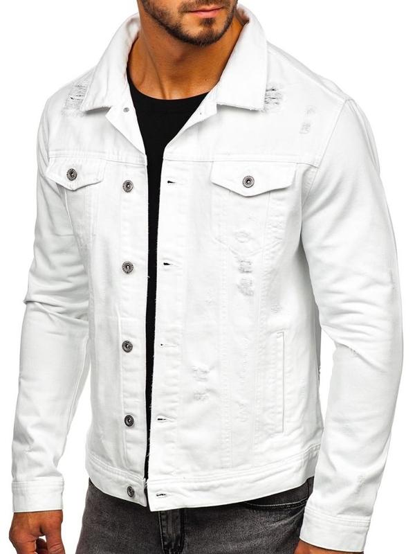 Мужская джинсовая куртка белая Bolf 55111