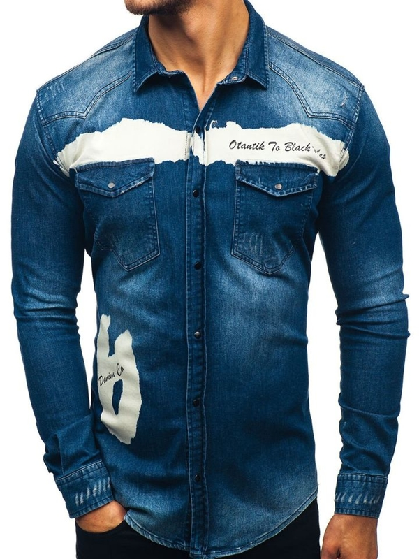 Мужская джинсовая рубашка с длинным рукавом темно-синяя Bolf 2063-1