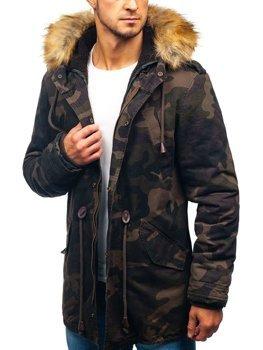 Мужская зимняя куртка парка камуфляж-хаки Bolf AM711