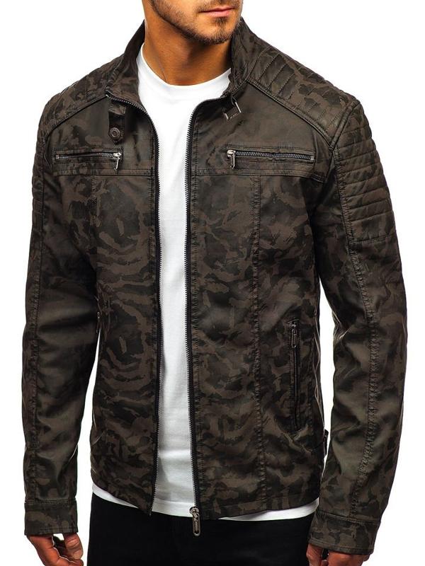 Мужская кожаная куртка камуфляж-хаки Bolf EX920