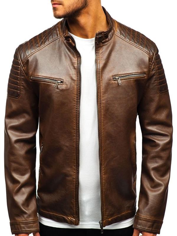 Мужская кожаная куртка коричневая Bolf EX802