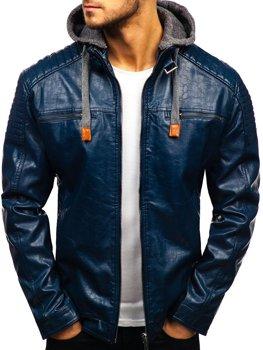 Мужская кожаная куртка темно-синяя Bolf ex703