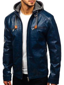 Мужская кожаная куртка темно-синяя Bolf ex705