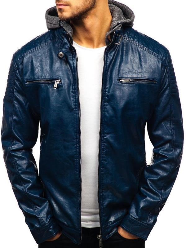 Мужская кожаная куртка темно-синяя Bolf ex709