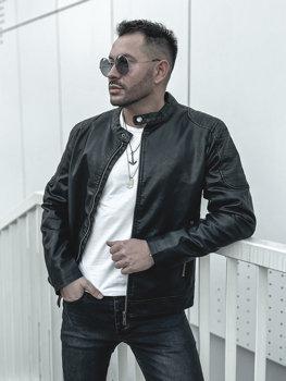 Мужская кожаная куртка черная Bolf 1108
