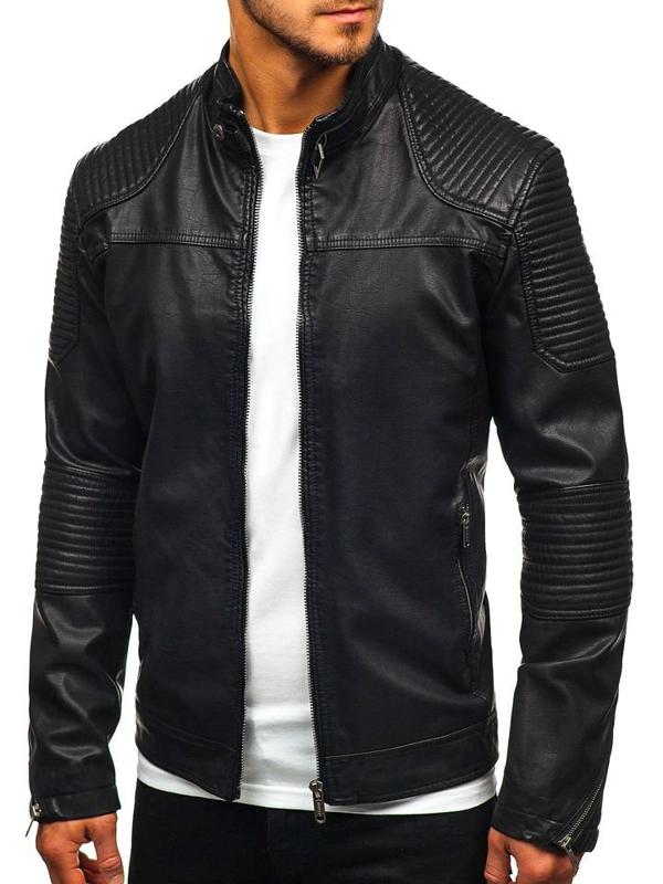 Мужская кожаная куртка черная Bolf EX911