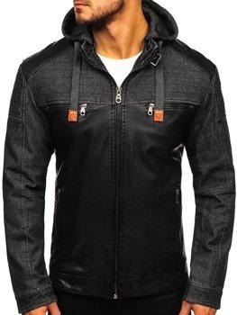 Мужская кожаная куртка черная Bolf Ex361