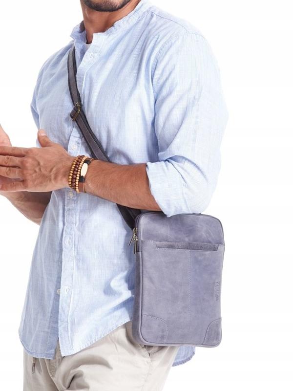 Мужская кожаная сумка темно-синяя 2372