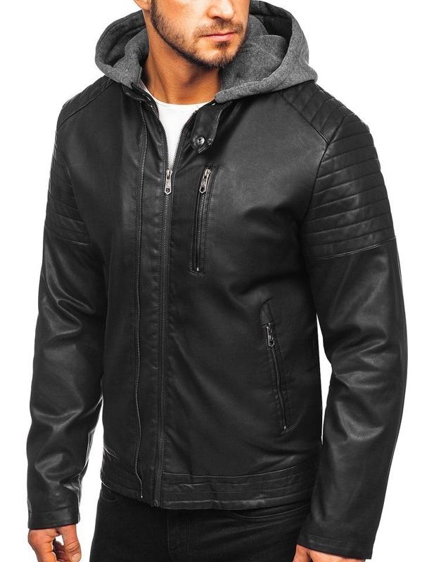 Мужская кожаная утепленная куртка черная Bolf 92543