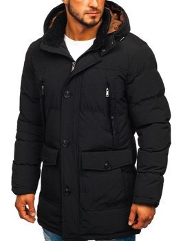 Мужская куртка зимняя парка черная Bolf 1097