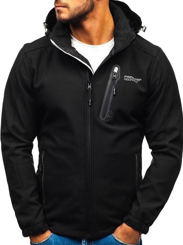 Мужская куртка софтшелл черная Bolf AB95
