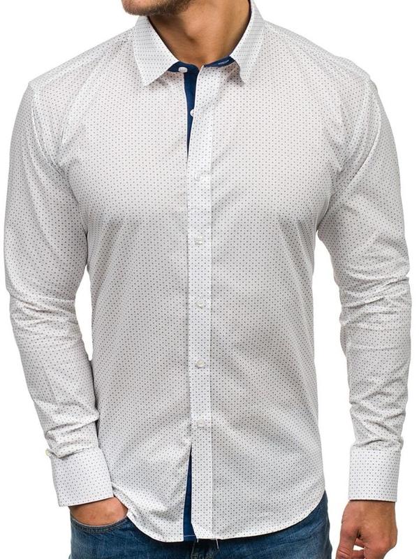 Мужская рубашка с узором с длинным рукавом белая Bolf GE1011