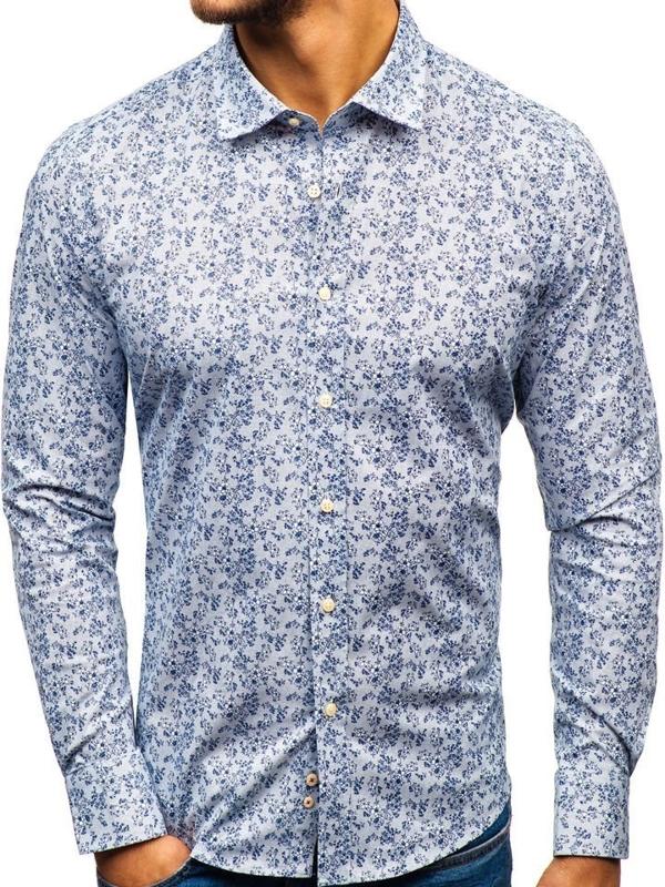 Мужская рубашка с узором с длинным рукавом бело-темно-синяя 301G58