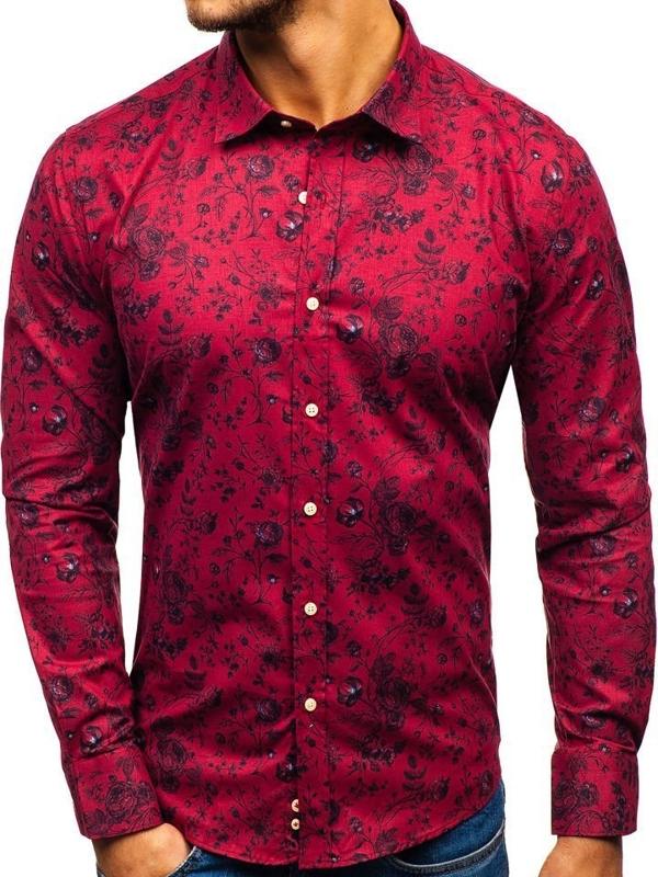 Мужская рубашка с узором с длинным рукавом красная 200G7